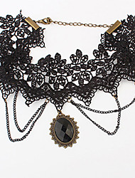 Vintage Black Lace With Resin Women's Necklace