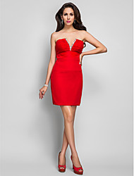 TS Couture Dress - Short Sheath / Column V-neck Short / Mini Chiffon with Crystal Detailing Ruching