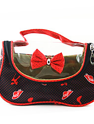 Portable PU Make up/Cosmetics Bag with Mirror Red&Black Transparent Bowknot Spot High-heeled