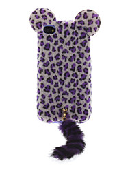 3D Flocking Leopard Print Cat with Tail Designed TPU Soft Case for iPhone 4/4S
