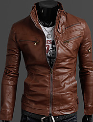 INMUR Light Brown  Multi-Zipper Button Closure Stand Collar Solid Color Jacket