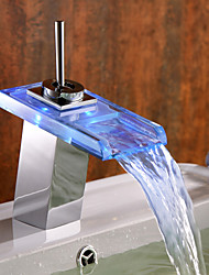 Color Changing LED Bathroom Sink Faucet with Glass Spout (Waterfall)