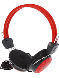 QINGSHENG QS-360 3.5mm Stereo On-Ear Headphone with Mic and Remote for PC (Black,Red)