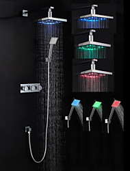 Shower Faucet Set Modern Chrome Finish LED Wall Mount (Showerhead + Hand Shower)