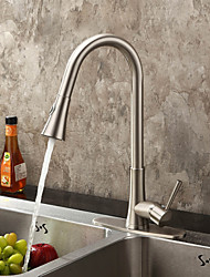 Contemporary Nickel Brushed Finish Single Handle Pull Out Kitchen Faucet