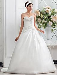 Lan Ting A-line/Princess Plus Sizes Wedding Dress - Ivory Chapel Train Sweetheart Satin