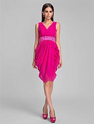 Cocktail Party / Holiday Dress - Fuchsia Plus Sizes / Petite Sheath/Column V-neck Knee-length Chiffon