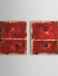 Peint à la main Peinture à l'huile abstraite avec cadre étiré Lot de 2 1308-AB0739