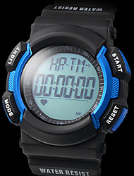 Unisex Heart Rate Monitor Multi-Functional Black Rubber Band Digital Wrist Watch with Pedometer (Assorted Colors)