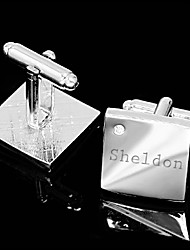 Gift Groomsman Personalized Silver Simple Cufflinks