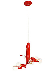 North American-Style Characteristic 6 Light Pendant In Red