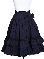 Knee-length Ink Blue Cotton Bow Belt Classic Lolita Skirt