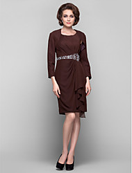 Lanting Dress - Chocolate Plus Sizes / Petite Sheath/Column Scoop Knee-length Chiffon