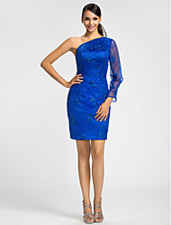 Dress - Royal Blue Sheath/Column One Shoulder Short/Mini Lace