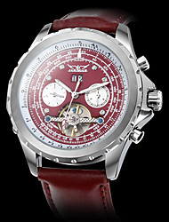 JARAGAR Men's Auto-Mechanical Watch Calendar Dark Red Leather Band Wrist Watch Cool Watch Unique Watch