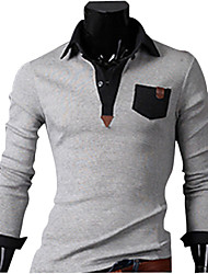 INMUR Light Gray Leather Stitching Shirt