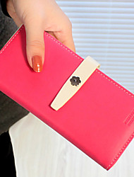 Fashion Dull Polish Contrast Color Long Wallet