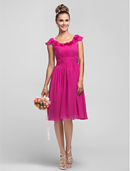 Homecoming Knee-length Chiffon Bridesmaid Dress - Fuchsia Plus Sizes A-line/Princess Scoop