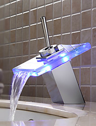 Sprinkle® by Lightinthebox - Color Changing LED Waterfall Bathroom Sink Faucet (Glass Spout)