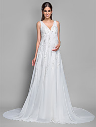 LAN TING BRIDE A-line Wedding Dress - Classic & Timeless Simply Sublime Court Train V-neck Chiffon Lace with Appliques Sequin