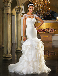 Lanting Fit & Flare Plus Sizes Wedding Dress - Ivory Sweep/Brush Train Sweetheart Tulle/Organza