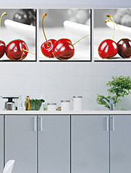 Stretched Canvas Art Food Red Cherry Set of 3