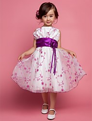 A-line Ball Gown Princess Knee-length Flower Girl Dress - Polyester Straps with Flower(s)