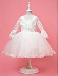 A-line/Ball Gown/Princess Knee-length Flower Girl Dress - Lace/Satin/Tulle Half Sleeve