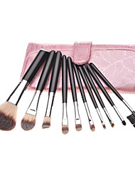 10PCS Preto Handle escova cosmética Set Com Raios-de-rosa bolsa de couro