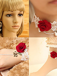 Handmade White Lace With Red Rose Sweet Lolita Accessories Set