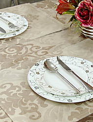 Set of 4 Imitation Leather Floral Light Coffee Placemats