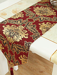 Gold Embroidery Brocade Red Table Runner