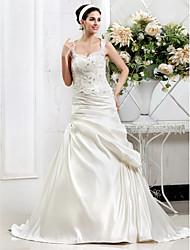 Lan Ting A-line Plus Sizes Wedding Dress - Ivory Court Train Sweetheart Satin