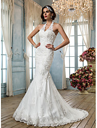 Lan Ting Trumpet/Mermaid Plus Sizes Wedding Dress - Ivory Court Train Halter Tulle