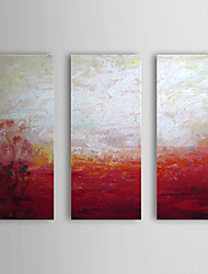 Hand Painted Oil Painting Abstract Red and White with Stretched Frame Set of 3 1309C-AB0808