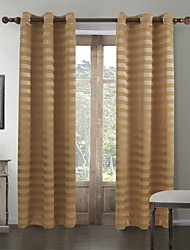 (Two Panels) Country Yellow Horizontal Stripes Room Darkening Curtain