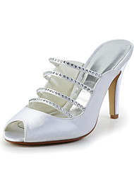 Bridal Satin Stiletto Sandals with Rhinestone Wedding/Special Occasion Shoes(More Colors)