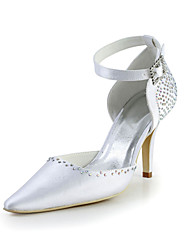 Bridal Satin Stiletto Pumps with Buckle and Rhinestone Wedding/Special Occasion Shoes(More Colors)