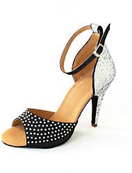 Customizable Women's Dance Shoes Latin/Ballroom Satin/Sparkling Glitter Customized Heel Red/White