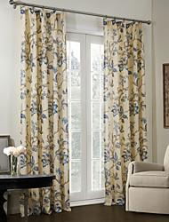 pays deux panneaux floraux botaniques beige linge de chambre bleue / polyester rideaux mélange de stores opaques