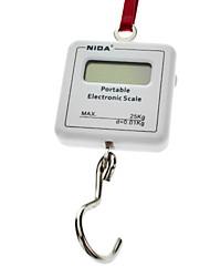 """1.2 """"LCD Portable Digital Elektronische Gewichtung Haken Skala - Weiß (1 * CR2032/25kg Max)"""