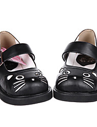 Zapatos Amaloli Hecho a Mano Tacón plano Zapatos Un Color 3 CM Negro Para Mujer Cuero Sintético/Cuero de Poliuretano