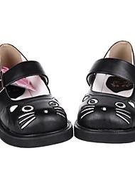 Handmade Black Cat PU Leder Wohnung Sweet Lolita Schuhe