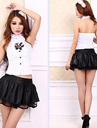 Cute Girl camisa blanca y falda princesa Uniforme Negro