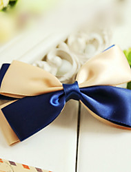 Blue-and-champagne Satin 10cm Satin Bow Classic Lolita Barrette