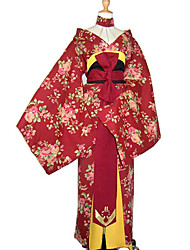 Rosa Chinensis Red Uniform Cloth Japanese Kimono Women's Costume