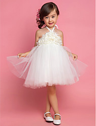 Princess Tea-length Flower Girl Dress - Satin / Tulle Sleeveless Halter with Draping / Flower(s)