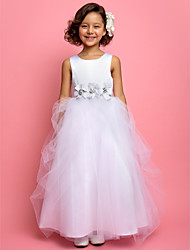 A-line Princess Ankle-length Flower Girl Dress - Satin Tulle Jewel with Crystal Detailing Flower(s) Sash / Ribbon Side Draping