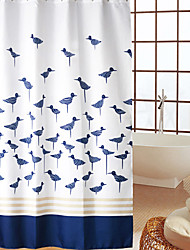 Continental Blue Birds Pattern Waterproof dicke Polyester Duschvorhang