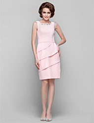 Lanting Dress - Pearl Pink Plus Sizes / Petite Sheath/Column Jewel Knee-length Chiffon